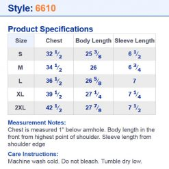 RHD6610 size chart