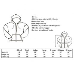 Ride Heels Down zip-up sweatshirt size chart