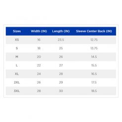 Gildan 2000L size chart