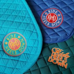 Ride Heels Down custom embroidered saddle pads