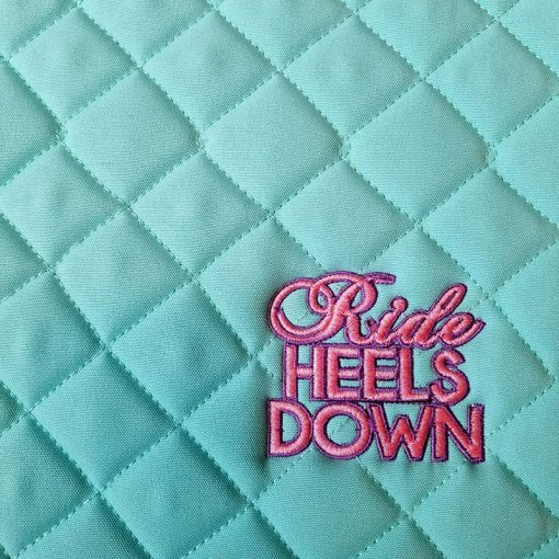 Ride Heels Down custom embroidered saddle pad